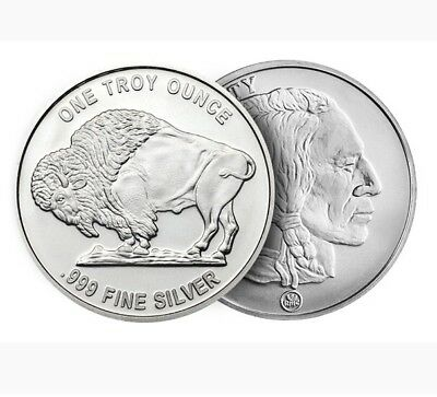 5 Buffalo Design .999 1 Oz Silver Rounds From RMC  5 Oz of Silver