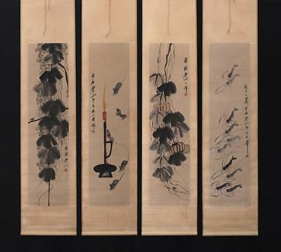Fine Chinese Hand-painting Painting Four Scroll Qi Baishi Marked-grape