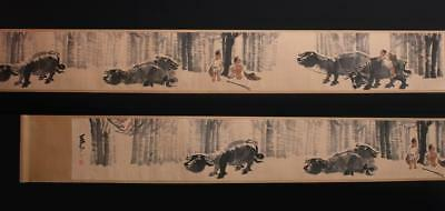 Fine Chinese Hand-painting Painting Scroll Li Keran Marked-cows