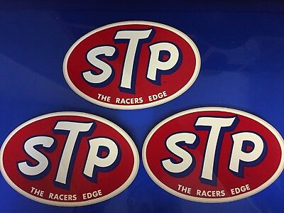 """Lot of 3 STP Original Vintage """"THE RACERS EDGE"""" racing decals stickers"""