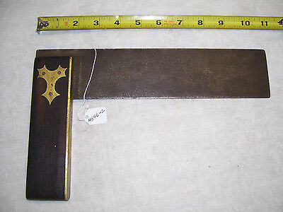 Square, Vintage Ebony Handle, Brass Inlay and Steel Blade Woodworkers Square