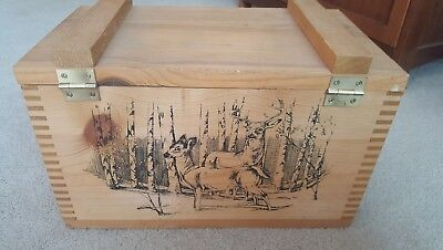Wooden Ammo Box The Classic By Evans 1994 Deer Theme Approx 16l X 9w X 10h