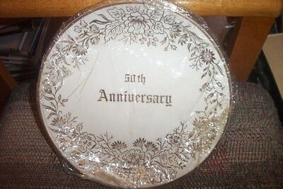 Pearl China Co.22 KT Gold 50th Anniversary Plate Ivory Hand Decorated Dishes