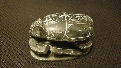 OLD STONE CARVING, SCARAB BEETLE JADE COLOR GREEN Egyptian Art