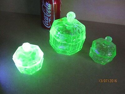 Three Glass Trinket Boxes With Lid, Vintage Uranium Glass (Vaseline Glass) 1930S
