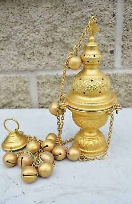 Orthodox Church Censer (Thurible) Triple Chain + Bells (CU1051) Incense Burner