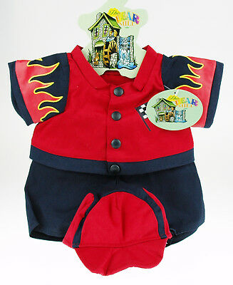 Teddy Bear Clothes -- Racing Driver outfit.  Red with flame print. Brand new.