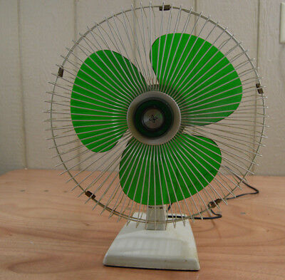 Vintage Sears Fan Oscillating Green Transparent Blades 3 Speed Electric Works