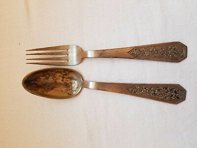 ANTIQUE STERLING SILVER FORK & SPOON - circa late 1800's/early 1900's