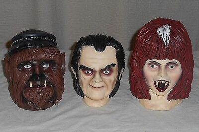 THE LATE DR LADY SHOW Shrunken Head Horror Host Props Novelties SET OF 3 Latex