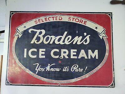 Vintage Porcelain Bordens Ice Cream Selected Store Dealers Sign 48 x 34 in.