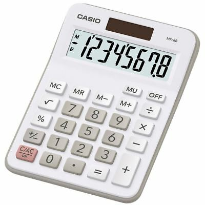 Casio MX8B-WE White Multi Functional Desk Dual Calculator 8 Digit Display New