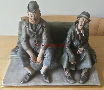 LARGE 1964 signed CAPPE CAPODIMONTE TWO OLD MEN ON BENCH FIGURINE GROUP