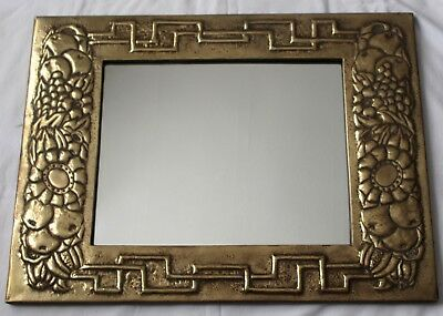 Large Antique Hammered Brass Arts & Crafts Mirror Keswick Style Fruit