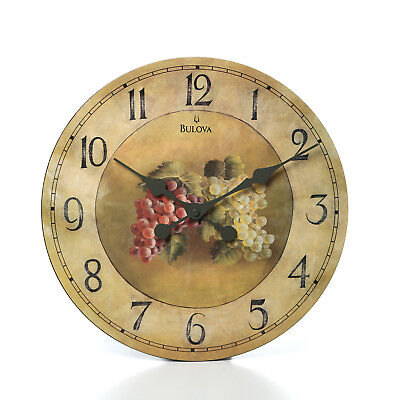 18 Inch Large Kitchen Dining Wall Clock Bar Time Glass Grapes Decor Antique New