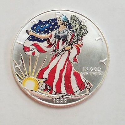 1999 1 oz American Silver Eagle $1 Coin PAINTED in Plastic Capsule (99)