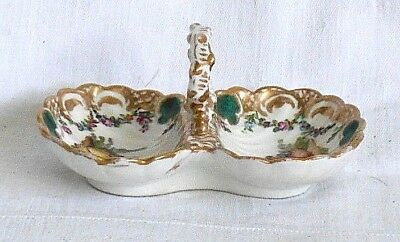 Early C19Th Meissen Hand Painted Double Table Salt Decorated With Two Pictures
