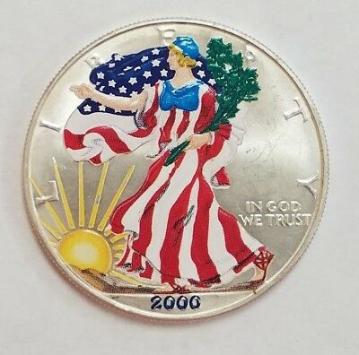 2000 1 oz American Silver Eagle $1 Coin PAINTED in Plastic Capsule (96)