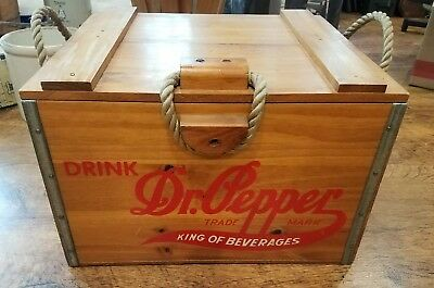 Dr. Pepper King of Beverage 100th Anniversary Wood Crate Cooler Box Ice Chest