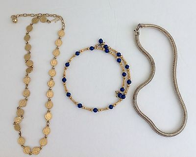 Lot Of 3 Vtg Retro Art Deco Flat Coin Gold Tone Blue Glass Omega Snake Necklaces