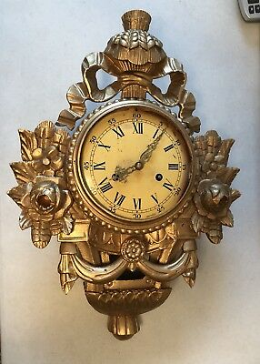 Antique Gold Rococo Wall Clock,Sweden