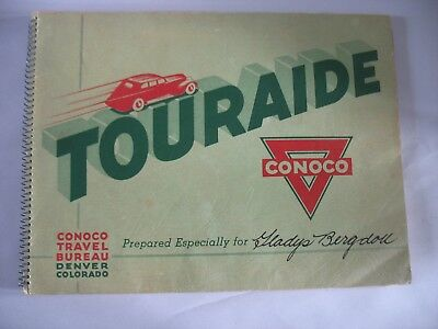 Conoco Gas Touraide 1930s Booklet USA PA to CA & back Trip Map Vintage