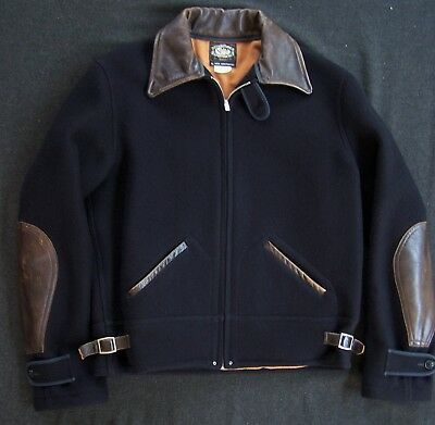 1930's VINTAGE WOOL LEATHER COSSACK JACKET REAL MCCOY'S TALON ZIP XCLNT! 40 2002
