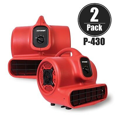 XPOWER P-430 1/3 HP 3 Speeds Air Mover Carpet Dryer Blower Floor Fan 2 Pack