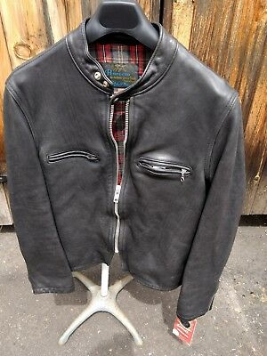 Schott NYC USA CAF-1 Racer Vintaged Leather Jacket Steer Hides Made in USA  NEW/