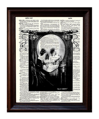 All is Vanity Skull - Dictionary Art Print Printed On Authentic Vintage