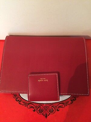 Kate Spade Pocket LEATHER Organizer Planner Ring 6 Binder w/5 INCERTS(ITALY)New