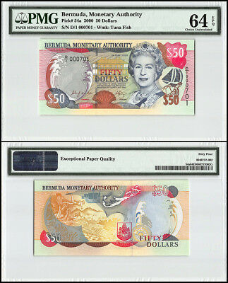 Bermuda 50 Dollars, 2000, P-54a, Queen Elizabeth II, Low Serial # 000701, PMG 64