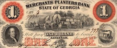1800s $1 State of Georgian Mechanics and Planters note.VF condition.