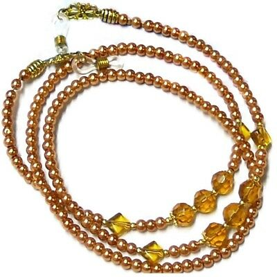Reading Eye glasses lanyard beaded chain gold pearl and crystal