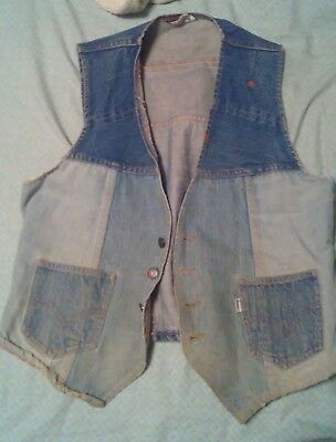 Vintage Levis Fresh Produce Hippie Vest Awesome Fade Rare !!!
