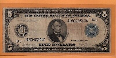 ***  1914 $5.00 Fed Res Note Kansas City Blue Seal   ****