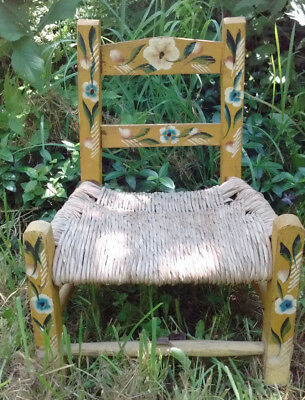 Vintage Yellow Hand Painted Folk Art Child/Doll Wood Chair with Rush Seat
