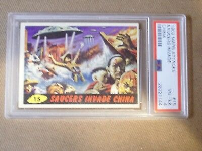 Mars Attacks 1962 Topps/bubbles # 15 Saucers Invade China  Psa Graded Vg-Ex 4