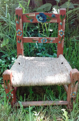 Vintage Red Hand Painted Folk Art Child/Doll Wood Chair with Rush Seat