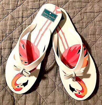 dd9aff729e98 BRAND NEW Kate Spade New York pink   white flamingo flip flops size 6M or 9M