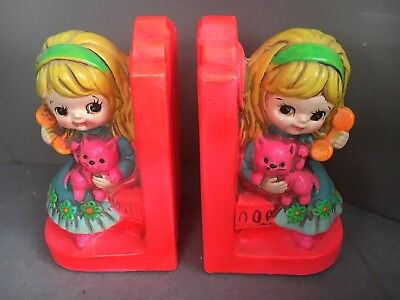 Vintage Kids Bookend 1969 Holiday Fair INC made in japan Blond Little Girl Retro