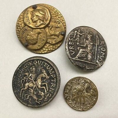 Lot Of Four Antique Metal Picture Buttons Of Roma Coins Etc. All Different Nice