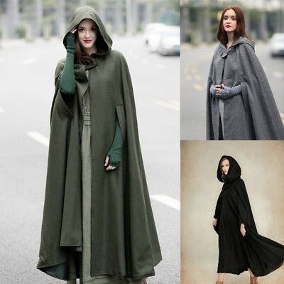 Women Black Green Vintage Stylish Solid Cloak Cape Jacket Long Hooded Parka Coat