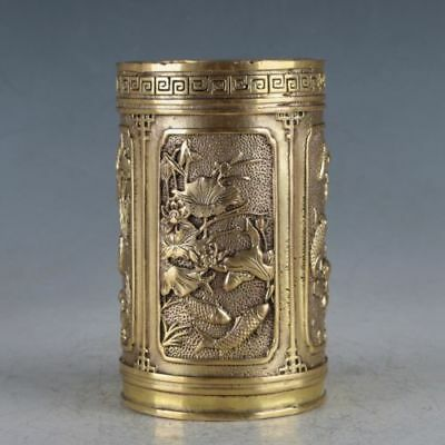 Chinese Exquisite Brass Fish&Dragon Brush Pot Made During The Xuande Period HT00