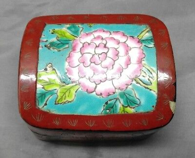 Old vintage Asian Chinese pottery shard lacquer box