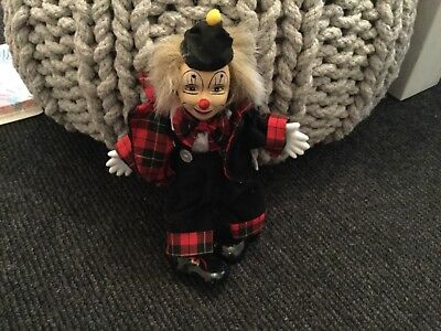 Clown doll with ceramic hands, head and shoes