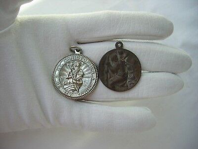 Antique & Vintage St. Christopher Medals / Lot of 2 / Saint carring Baby Jesus