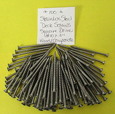 """Stainless Steel Deck Screws No.10 x 3"""" Square Drive Wood / Composite (100) B23"""