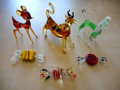 Lot figurine animalière bonbon verre collection murano glass animal candy deco