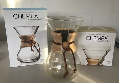 Chemex Coffee Maker - Classic - 6 cup coffee maker with Filters and Stopper